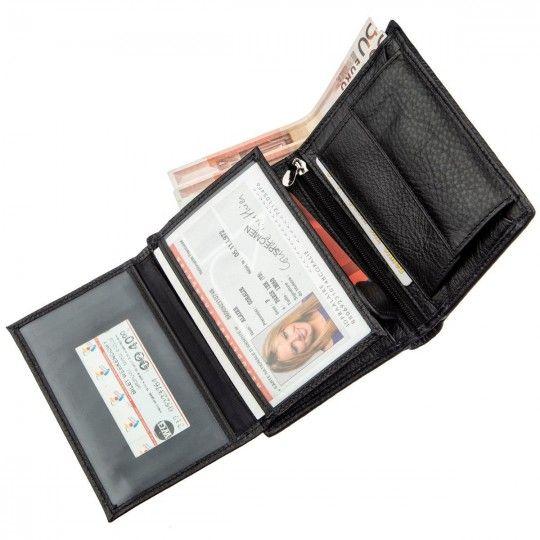 Чоловічий шкіряний гаманець з монетницей Boston 18826 чорний