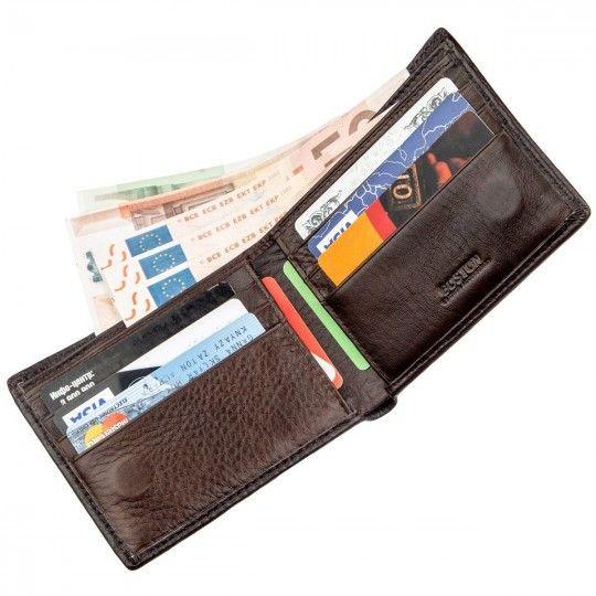Шкіряний чоловічий гаманець на магніті Boston 18829 коричневий