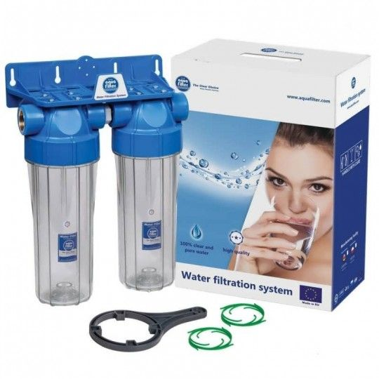 """10"""" Лінійна система фільтрації Aquafilter FHPRCL-xB-TWIN з 2-х корпусів"""