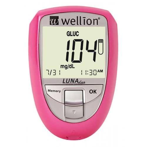 Глюкометр Wellion Luna Duo Blackberry для вимірювання цукру і холестерину в крові