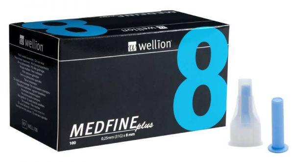 Голки для інсулінових шприц-ручек+контейнер Wellion MEDFINE plus 0,25 мм (31G) x 8 мм, 100 шт