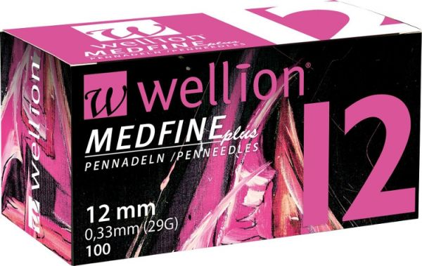 Голки для інсулінових шприц-ручек Wellion MEDFINE plus 0,33 мм (29G) x 12 мм, 100 шт