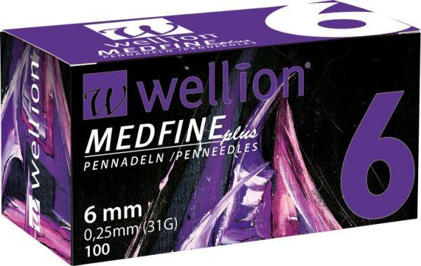 Голки для інсулінових шприц-ручек Wellion MEDFINE plus 0,25 мм (31G) x 6 мм, 100 шт