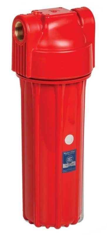 """10"""" Червоний магістральний корпус фільтру Aquafilter для гарячої води FHHOTx-HPR-S латунне різьблення, з клапаном"""