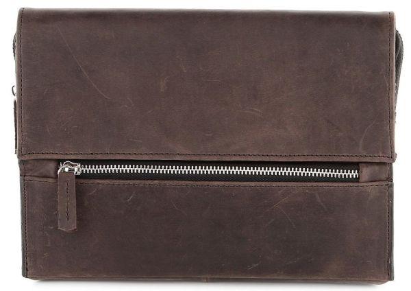 Барсетка SHVIGEL 00757 из винтажной кожи коричневая