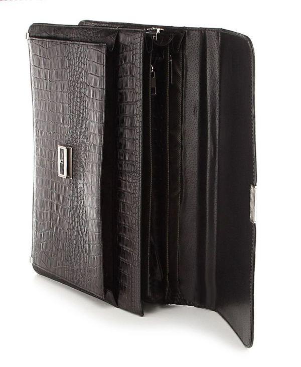 Портфель деловой SHVIGEL 00362 из натуральной кожи черный