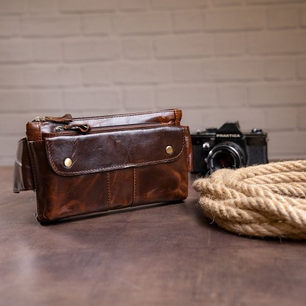 Поясная cумка мужская Vintage 14815 коричневая