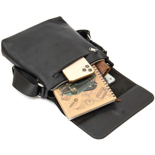 Практичная кожаная мужская сумка GRANDE PELLE 11431 черный