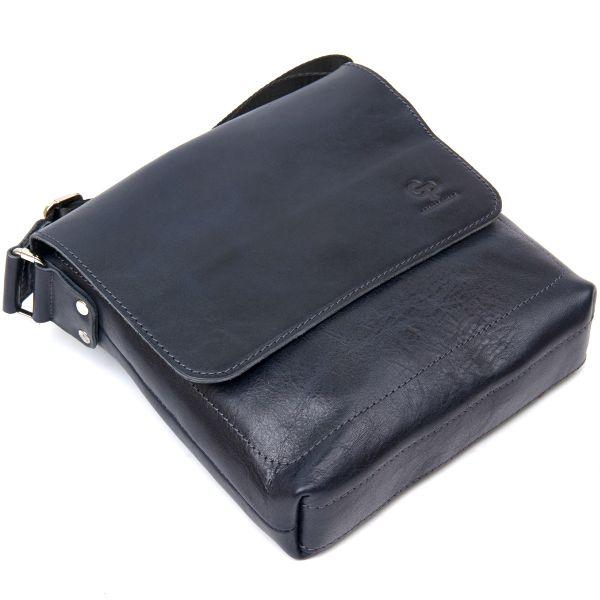 Практичная кожаная мужская сумка-мессенджер GRANDE PELLE 11433 темно-синий