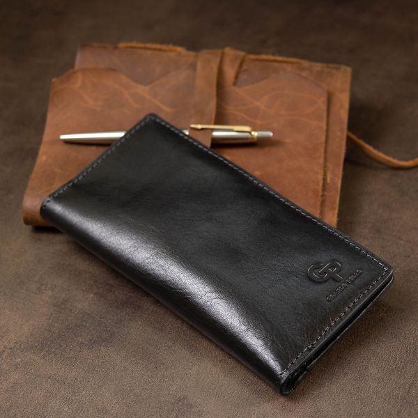 Практичное мужское портмоне GRANDE PELLE 11559 черный