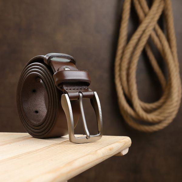 Практичный кожаный мужской ремень Vintage 20722 коричневый