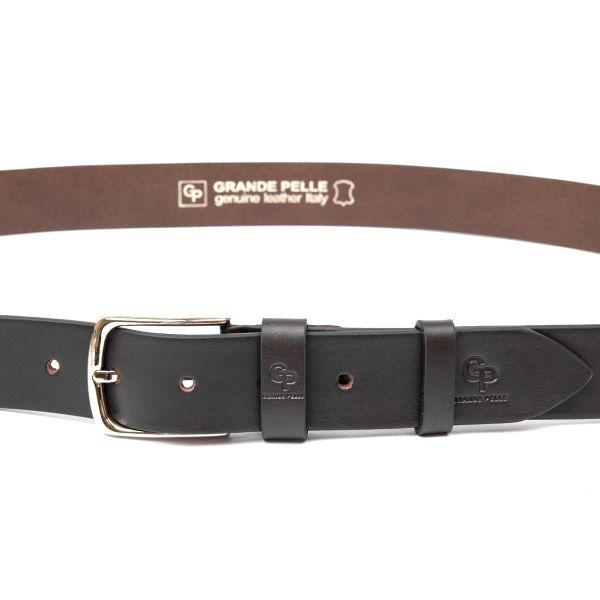 Практичный мужской кожаный ремень GRANDE PELLE 11452 темно-коричневый