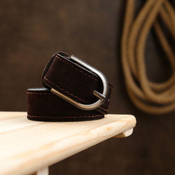 Практичный замшевый ремень Vintage 20800 темно-коричневый