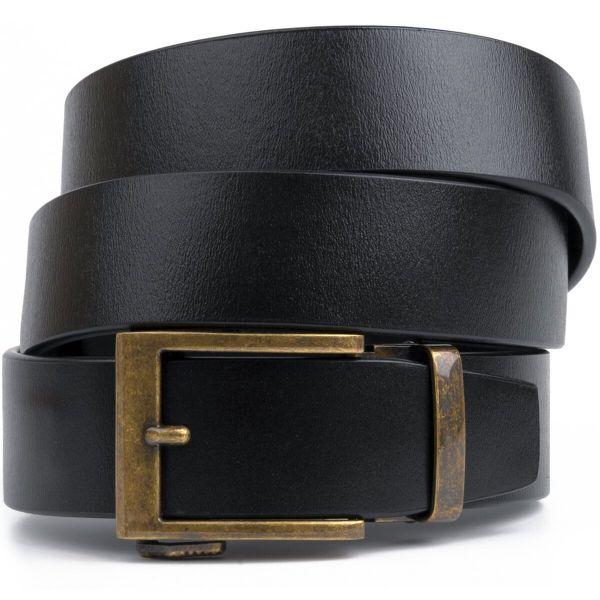 Ремень из натуральной кожи с ретро латунной пряжкой Vintage 20215 черный