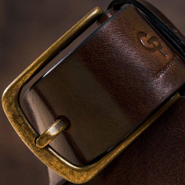 Ремень мужской с круглой латуниевой пряжкой Grande Pelle 11269 красно-коричневый
