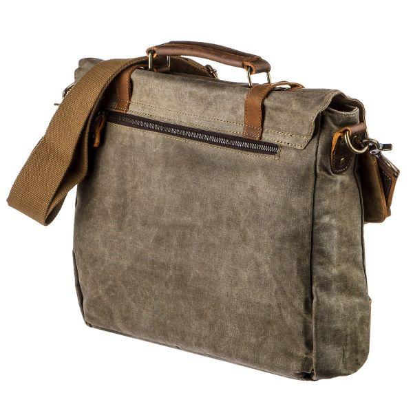 Ретро портфель комбинированный Vintage 20117 светло-серый
