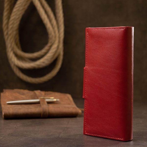 Шикарный женский кошелек в три сложения GRANDE PELLE 11564 красный