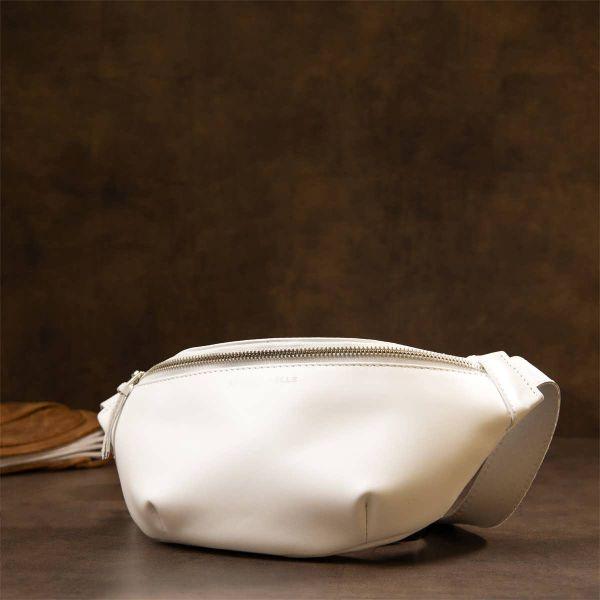 Стильная кожаная сумка на пояс GRANDE PELLE11356 белый