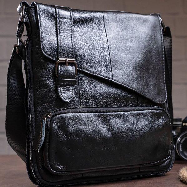 Стильная мужская кожаная сумка Vintage 14848 черная