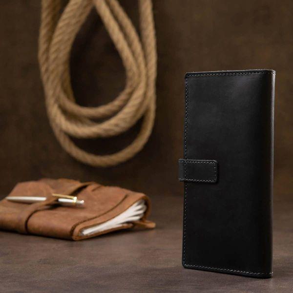 Стильное матовое мужское портмоне GRANDE PELLE 11560 Черный
