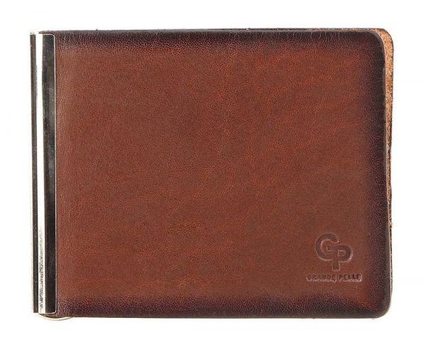Стильный кожаный зажим для банкнот GRANDE PELLE 00233 коричневый