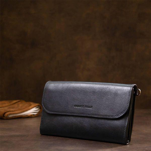Стильный мужской клатч из натуральной кожи GRANDE PELLE 11427 темно-синий