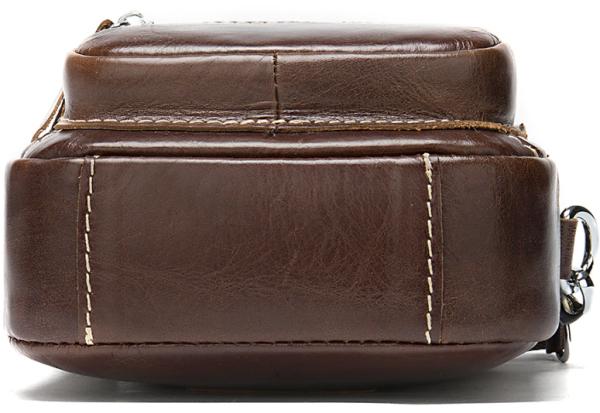 Сумка-барсетка на пояс мужская кожаная Vintage 20012 коричневая