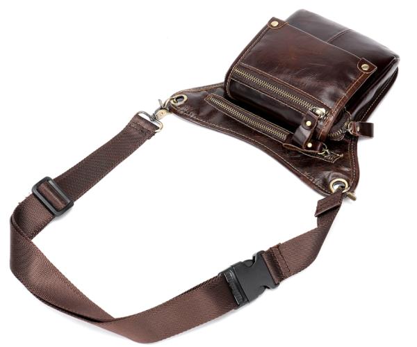 Сумка-барсетка на пояс мужская кожаная Vintage 20013 коричневая