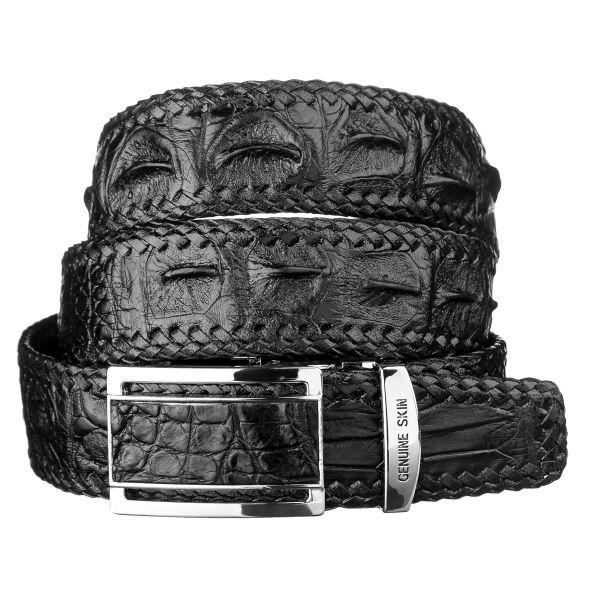 Ремень-автомат CROCODILE LEATHER 18026 из натуральной кожи крокодила черный