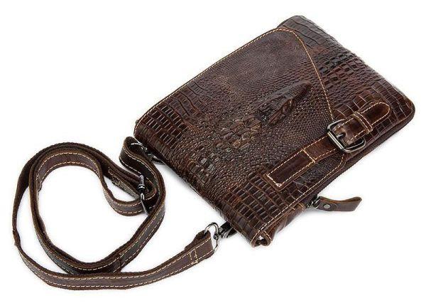 Сумка-мессенджер тиснение под экзотику Vintage 20038 коричневая