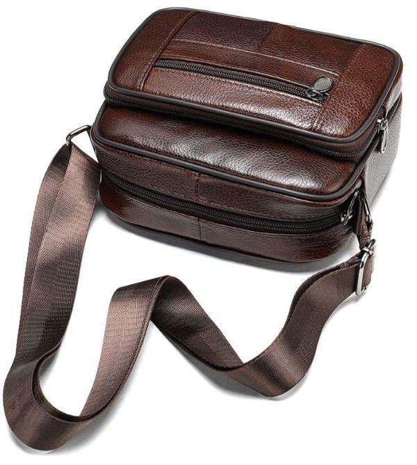 Сумка мужская флотар кожаная Vintage 14988 коричневая