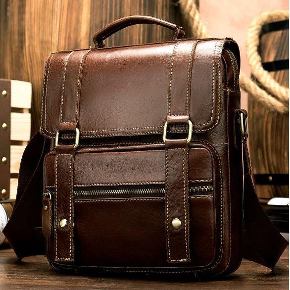 Сумка мужская кожаная Vintage 14841 коричневая