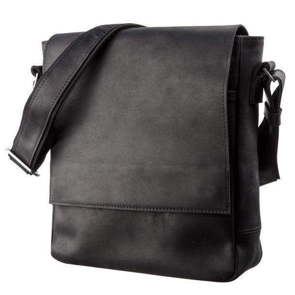 Сумка мужская винтажная средняя SHVIGEL 11172 кожаная черная