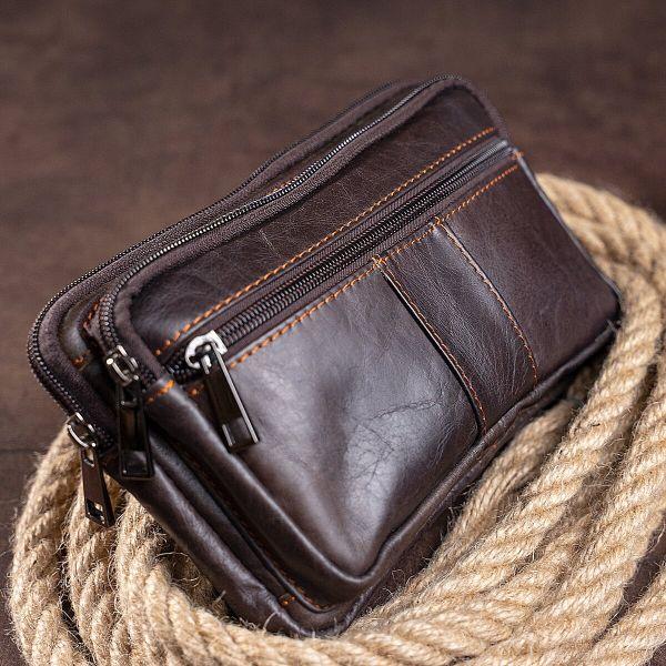 Сумка на пояс Vintage 14727 коричневая