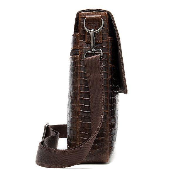 Сумка с тиснением под кожу крокодила Vintage 20039 коричневая