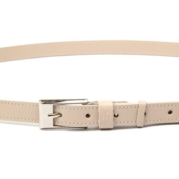 Тонкий кожаный ремень для женщин GRANDE PELLE 11447 бежевый