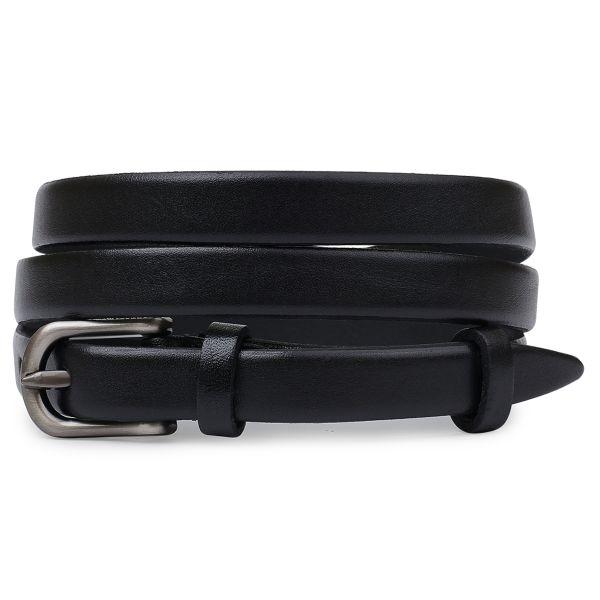 Тонкий кожаный женский ремень Vintage 20767 Черный