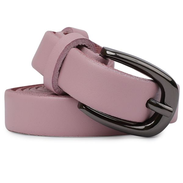 Тонкий ремень из натуральной кожи Vintage 20761 Розовый