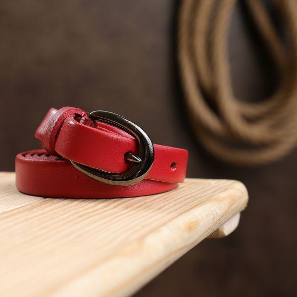Тонкий стильный женский ремень Vintage 20760 Красный