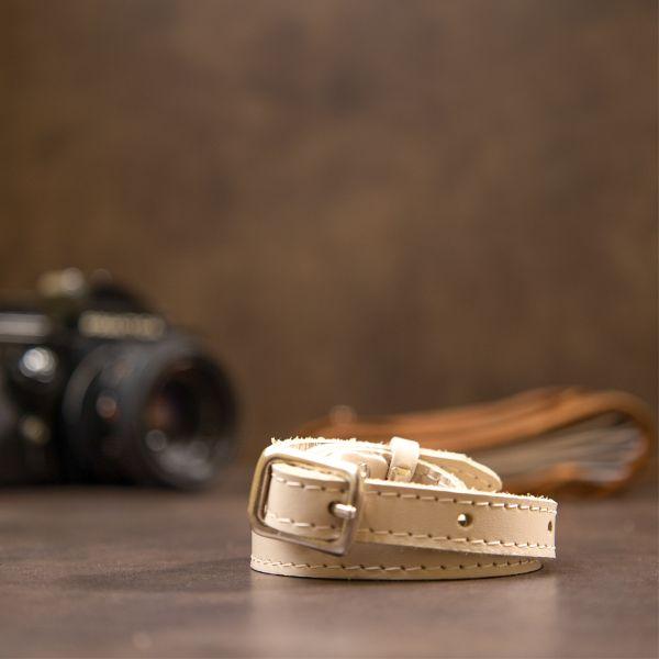Тонкий женский кожаный ремень GRANDE PELLE 11444 бежевый