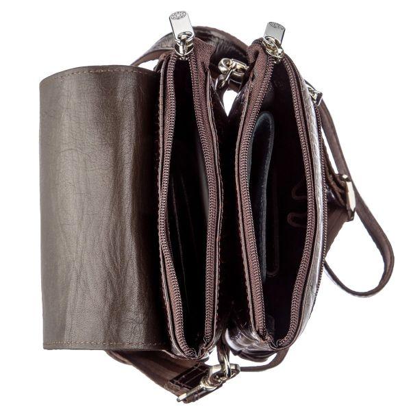 Вертикальная барсетка из натуральной кожи 17361 KARYA коричневая
