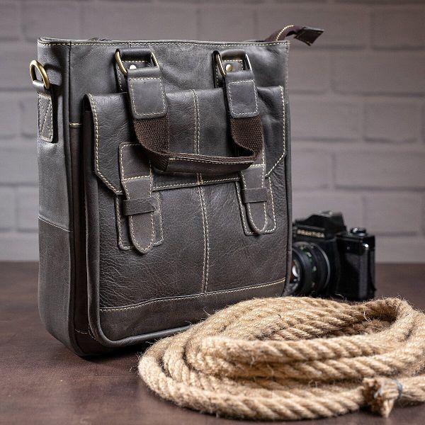 Вертикальная мужская кожаная сумка Vintage 14818 серая