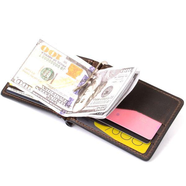 Винтажный кожаный зажим для денег GRANDE PELLE 11473 коричневый