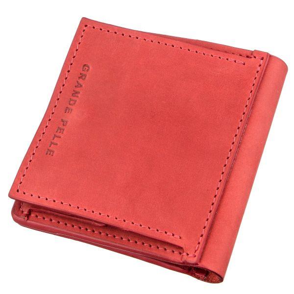 Яркое кожаное портмоне унисекс с накладной монетницей GRANDE PELLE 11224 красное