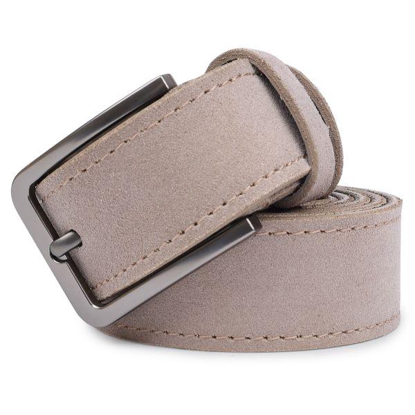 Замшевый мужской ремень Vintage 20715 серый