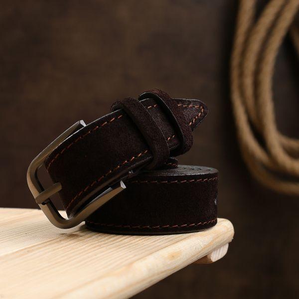 Замшевый ремень для женщин Vintage 20782 темно-коричневый