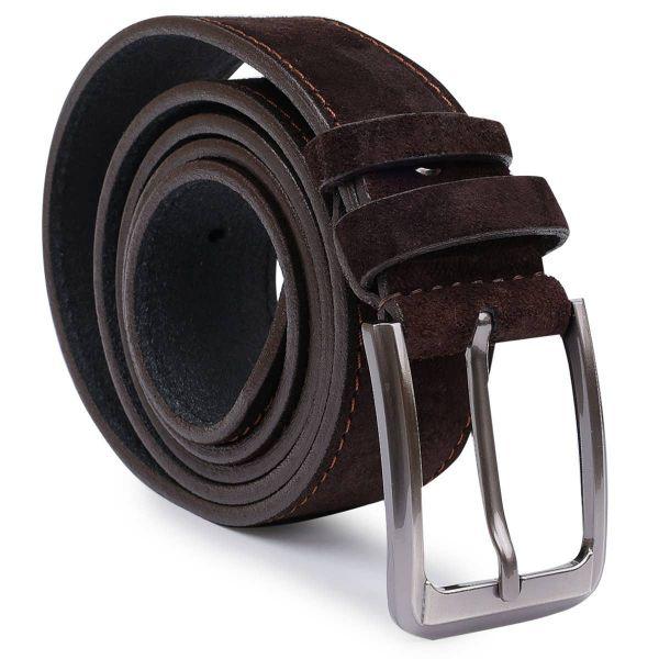 Замшевый стильный мужской ремень Vintage 20734 коричневый