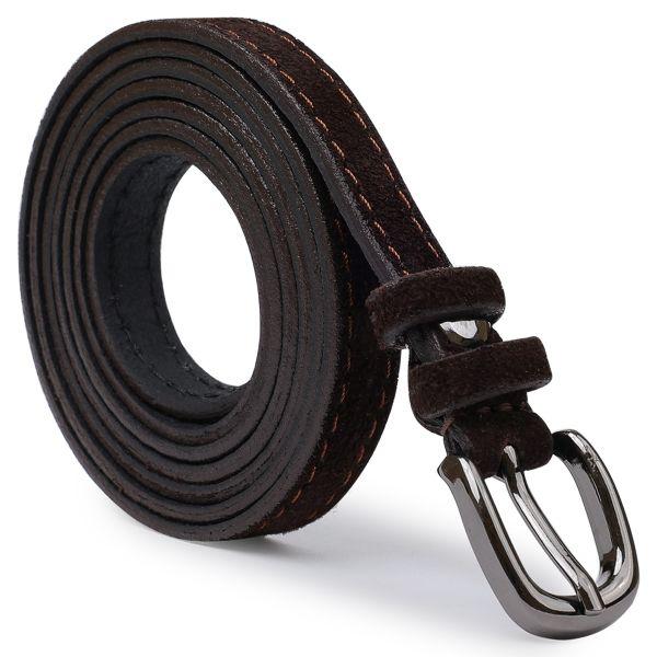 Замшевый стильный женский ремень Vintage 20765 темно-коричневый