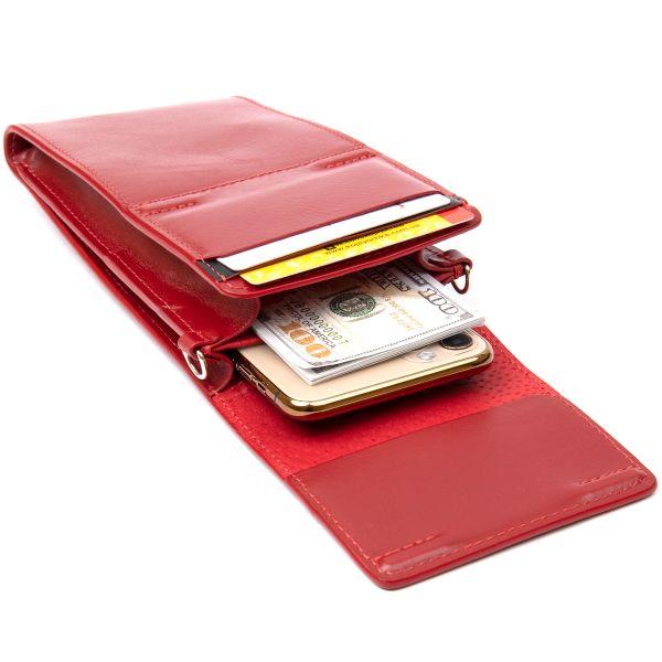 Женская кожаная сумка-кошелек GRANDE PELLE 11441 красный