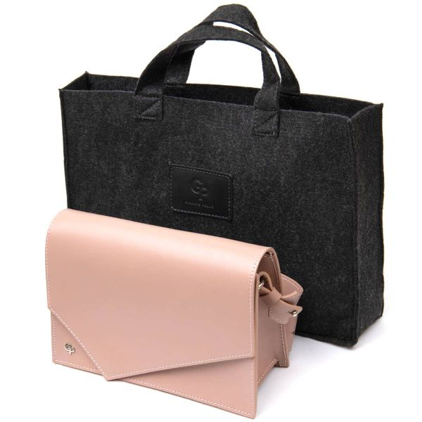Женская сумка из натуральной кожи GRANDE PELLE 11435 розовый